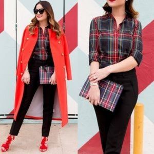 J CREW TARTAN PLAID BLOUSE ~ 14 / 16 ~ HOLIDAYS!!!